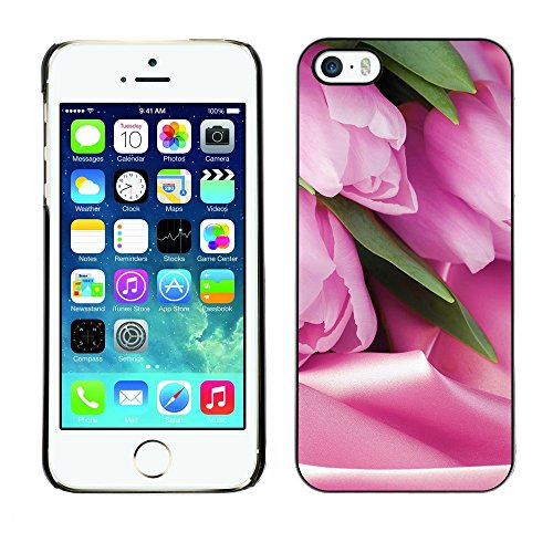 Soft Silicone Rubber Case Hard Cover Protective Accessory Compatible with Apple iPhone? 5 & 5S - tulips Holland symbol pink flowers
