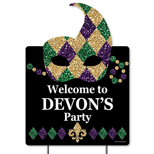 Big Dot of Happiness Personalized Mardi Gras - Party Decorations - Custom Masquerade Party Welcome Yard Sign ()
