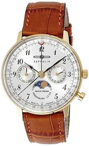 ZEPPELIN watch Hindenburg silver dial stainless steel case Day-Date 70391 Men's