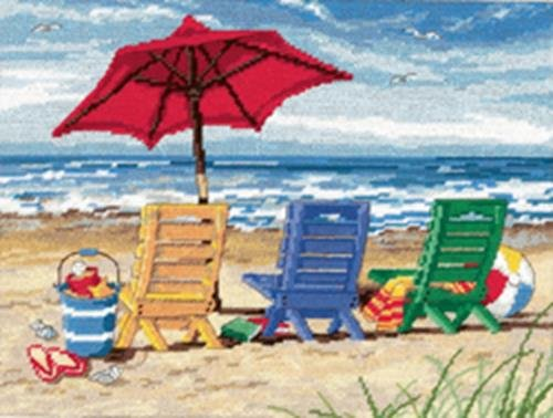 Dimensions Needlecrafts 72-120022 Needlepoint, Beach Chair Trio Dimensions Needlepoint Kits