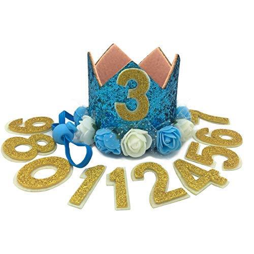 (JAMSTONE Crown Dog Birthday Party Hat Reusable Cat Dog Headwear Caps Adorable Puppy Kitten Flower Birthday Headdress Pet Birthday Costume Blue)