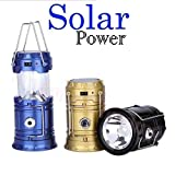 GKP Products  6 LED Solar Power Camping Lantern Light Rechargable Collapsible Night Light Waterproof Outdoor Super Bright Hiking Flashlight (Color May Vary) Model 413475