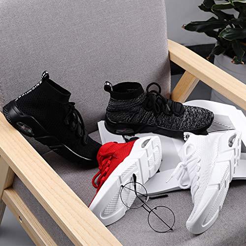 Punto Hombre Zapatos Moda Ligeras Athletic Para Cordones Correr Gris De Deporte Casual Jiameng Zapatillas Con qHCq7