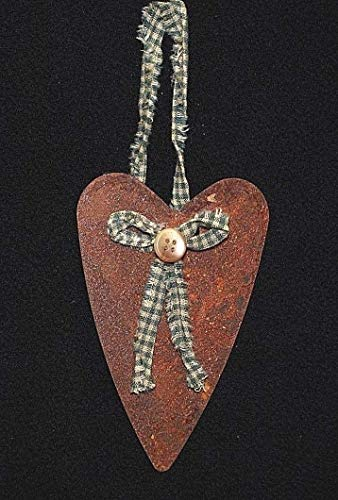 Look Antique Primitive 4-1/2'' Rusty Heart Ornament w/Green Check Homespun Bow & Button Inspiration for A Project ()