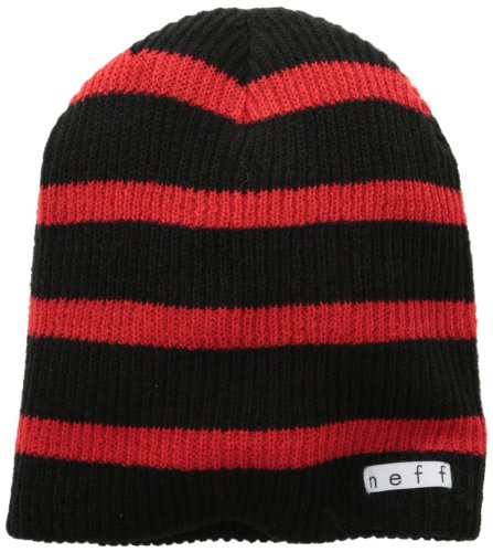 red Neff Gorro Stripe negro black Daily 6ppRq4O
