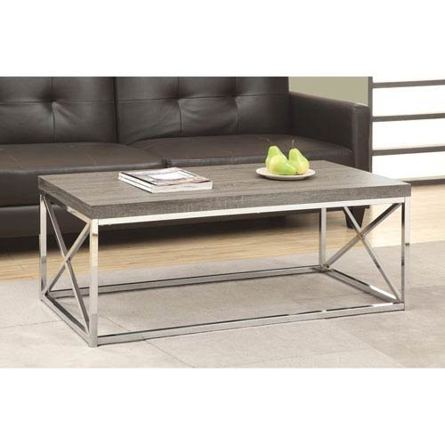 Aves Coffee - Hawthorne Ave Coffee Table - Dark Taupe with Chrome Metal