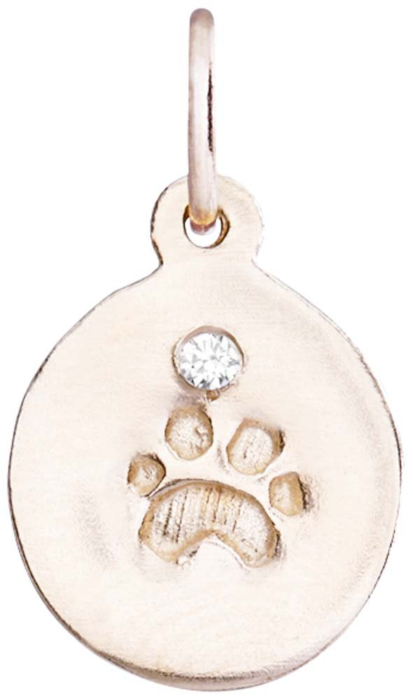 Helen Ficalora Small Paw Print Disk Charm With Diamond Rose Gold