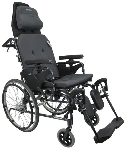 Karman Healthcare MVP502-20 Ergonomic V-Seat Reclining Wheelchair, Diamond Black, 22 Inches Rear Wheels and 20 Inches Seat Width