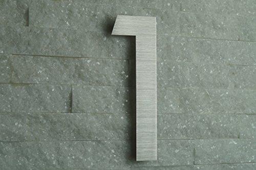 HAUSNUMMER EDELSTAHL Nr.1 / H20cm / ITC-Bauhaus in 2D-Design / V2A !!!