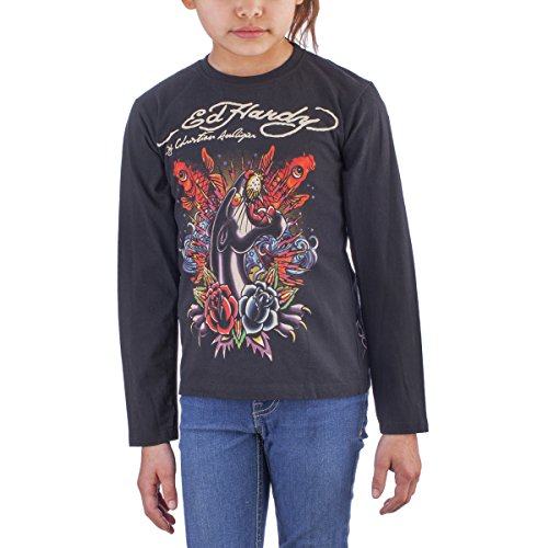 Ed Hardy Kids Girls Long Sleeve Kio Fish T-Shirt - Black - Small ()