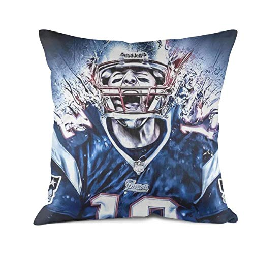 Bombline 18x18 Inch Square Throw Pillow Cushion Covers Cotton Sofa Bedroom Car Tom-Brady-New-England-Patriots-#12- Cushion Case