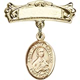 14kt Yellow Gold Baby Badge with St. Gemma Galgani Charm and Arched Polished Badge Pin 7/8 X 3/4 inches