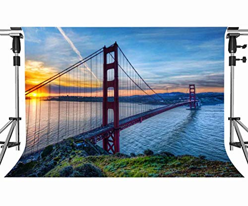 Meets 7x5ft Famous Buildings Backdrop Golden Gate Bridge Sunset River Water Background Photo Booth Studio Props Themed Party Curtain Background MT389]()