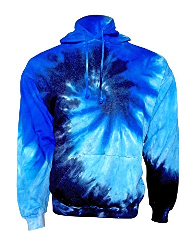 Kara Hub Unisex Navy Blue Long Sleeve Pullover Tie Dye Hoodie Sweatshirt (Medium, Navy Blue) - Die Kids Sweatshirt