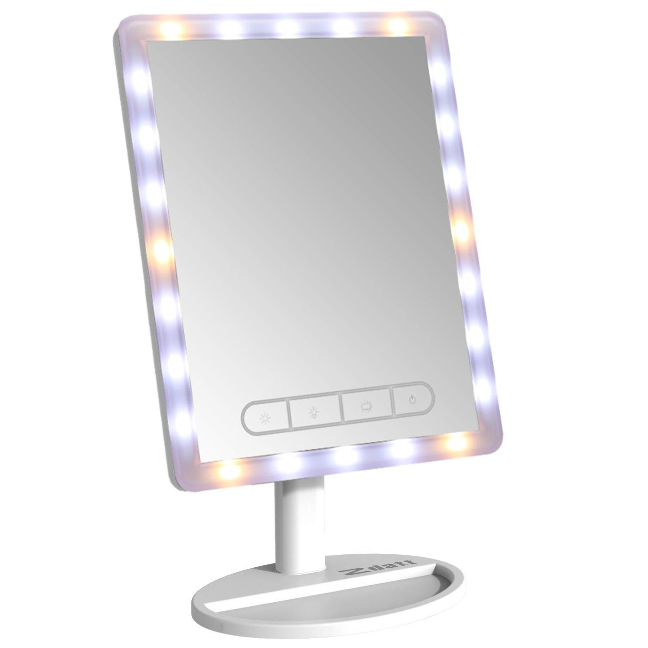 16'' Large Vanity Makeup Mirror with Lights Vanity Lighted LED Makeup Mirror with 24 LED Lights Make Up Mirror Cosmetic Mirrors Table Set Touch-Screen Light Control Adjustable Cosmetic White by Zdatt