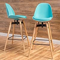Christopher Knight Home 298371 Phoebe Barstool (Set of 2), Light Blue