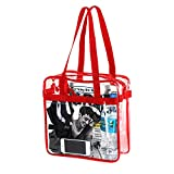 Clear Stadium Approved Tote Bag, for, Security Travel, Sports (Red)