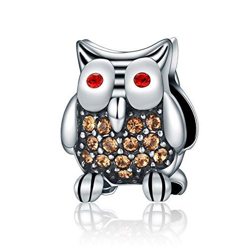 BAMOER 925 Sterling Silver CZ Gems Heart Charms Beads For Women Bracelet Snap Clip (Owl) for $<!--$10.99-->