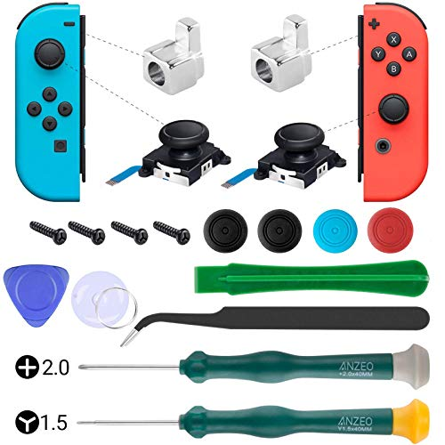 UOWGA Joycon Joystick Replacement, 2 Pack Switch Analog Thumbstick for Nintendo Switch, Joy Con Controller Repair Kit Include Metel Lock Buckles, Screwdrivers, Thumb Stick Caps and Pry Tools