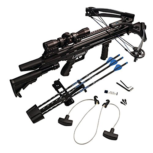 Carbon Express 20261 Intercept Axon Crossbow Kit (Rope Cocker, 3 Arrow Quiver, 3 Crossbolts, Rail Lubricant, 3 Practice Points, 4x32 Glass-Etched Reticle Lighted Scope), ()