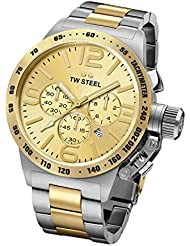 TW Steel CB54 Mens XXL Chronograph Stainless Canteen Two-Tone Bracelet Band Gold Dial Watch
