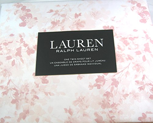 Ralph Lauren 3 Piece Twin Size Pale and Deeper Pink Floral Print Sheet Set 100% Cotton