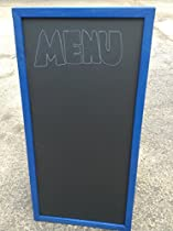 Sidewalk Display Sign 36 X 24 Black Chalkboard Double Sided Hardwood Frame Blue