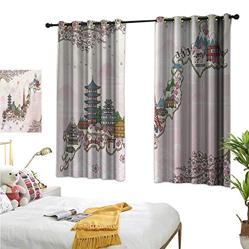 Warm Family Curtain Set Japanese,Japan Travel Poster with Sakura Tree Branches Blossoms Asian Journey Destination,Multicolor 72