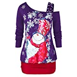 Spring Color  Women's Casual Santa Claus Print Long Sleeve Shirt One Shoulder Tunics Pullover Blouse Comfy Tops
