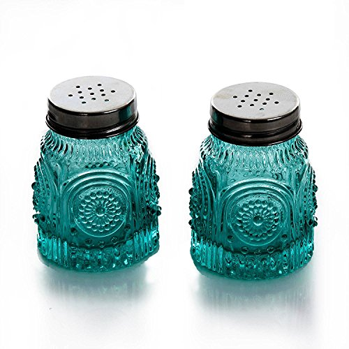 (The Pioneer Woman Adeline Teal Pressed Glass Salt and Pepper Shaker Set)
