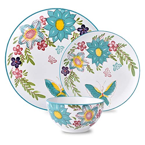Butterfly Dinnerware - DL Stylish 12-Piece Dinnerware set, Service for 4, Butterfly Blue