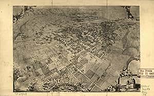 1896 map of Santa Barbara, California Santa Barbara (Calif.) --Aerial views.