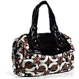 New bee Designer Inspired Circled Mongram Fabric Cute Handbag Satchel Shoulder Bag in Brown
