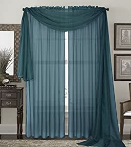 Qutain Home 2 Piece Solid Slate Sheer Window Treatment Curtains Drape Panels 60 X95