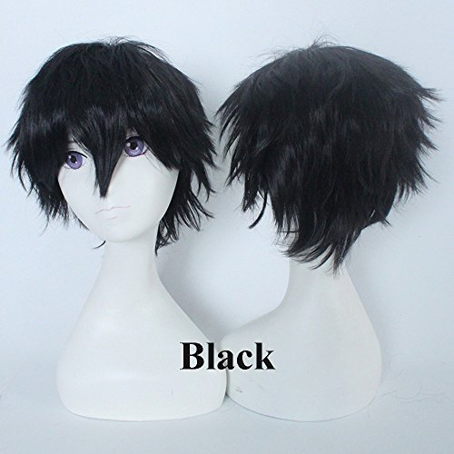 Unisex Short Black Straight Cosplay Anime Synthetic Hair Wigs for Women Mens Cool Party Costume -