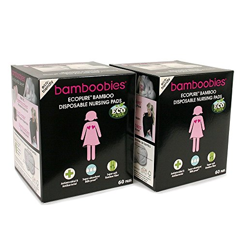 Nursing Pads by bamboobies, Disposable and Made from Premium Bamboo, for Sensitive Skin, 2 Boxes, 60 Pads per Box