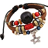 TEMEGO Jewelry Mens Womens Alloy Genuine Leather Braided Surfer Wrap Bangle ...