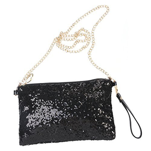 LUOEM Glitter Handbag Purse Shoulder Bag Sequin Evening Clutch for Women (Black)
