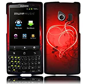 Black Red Heart Hard Cover Case for Huawei Ascend Q M660