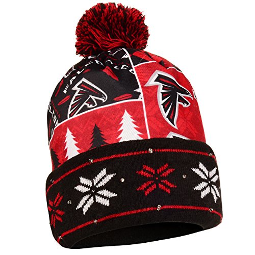 NFL Atlanta Falcons Busy Block Printed Light Up Beanie, One Size, Black