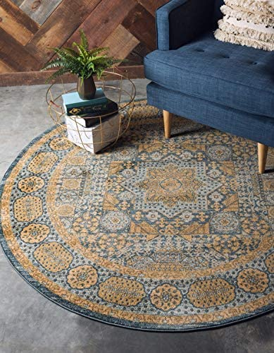 Unique Loom Palace Collection Traditoinal Geometric Classic Blue Round Rug 6 0 x 6 0