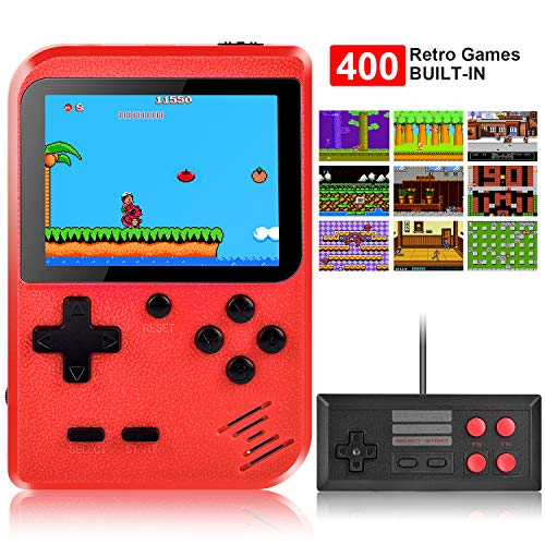 Handheld Game Console, Kiztoys Retro Game Console with 400 Classic Handheld Games, Supporting 2 Players & TV Connection, 800 mAh Rechargeable