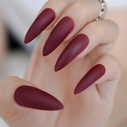 EchiQ - Uñas postizas extra largas de color rojo borgoña ...