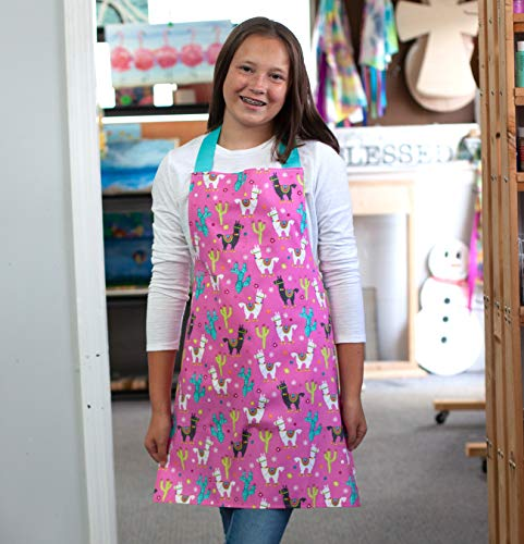Bright Pink Llama Handmade Kitchen Art or Craft Apron Gift for Girl from Sara Sews, Inc.