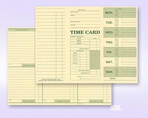 Employee Attendance Weekly Time Card (Pack of 250) by Next Day Labels (Image #2)