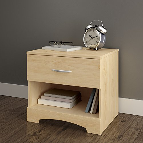 - South Shore Step One 1-Drawer Nightstand, Maple with Matte Nickel Handles
