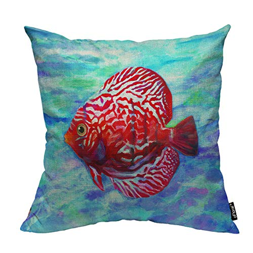 "oFloral Fish Pillow Cover Ocean Tropical Throw Pillow Case Square Cotton Linen Cushion Cover Home Decor for Sofa Bedroom Liveroom Decorative 18""X18"" inch Pillowcase"