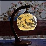 Baoduohui Ceramic Table lamp, Bedside Desk lamp, Bedroom Table lamp, LED Solid Wood Desk lamp, Interface E27 Image Color