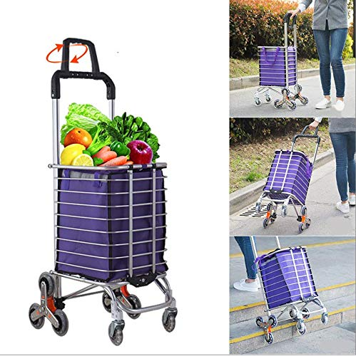RK Safety Folding Shopping Cart Portable Grocery Utility Lightweight Stair Climbing Cart with Rolling Swivel Wheels and Removable Waterproof Canvas Removable Bag One, Purple