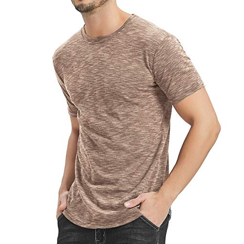 Moomphya Men's Hipster Casual Short Sleeve Round Hem Basic T-Shirts Crew-Neck Tee (A-Brown, (Mens Basic Crewneck T-shirt)
